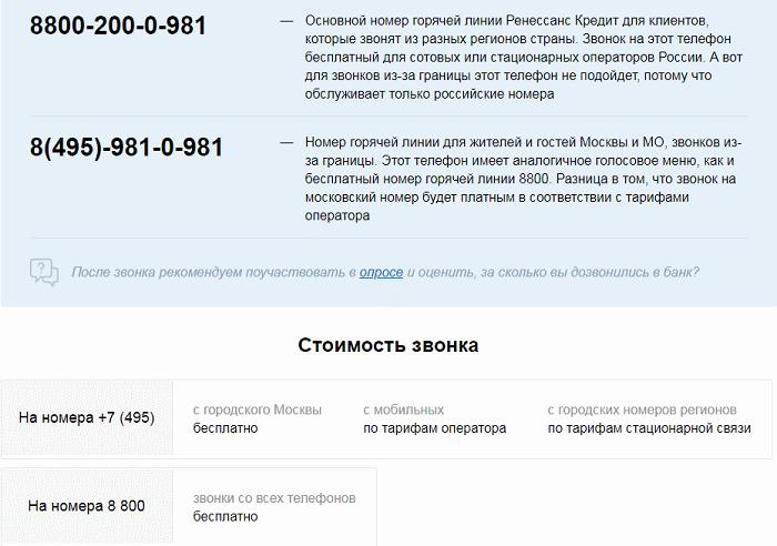 номер горячей линии ренессанс кредит россия займет онлайн на киви кошелек